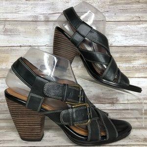 Clarks Indigo 8M Black Leather Strappy Sandals